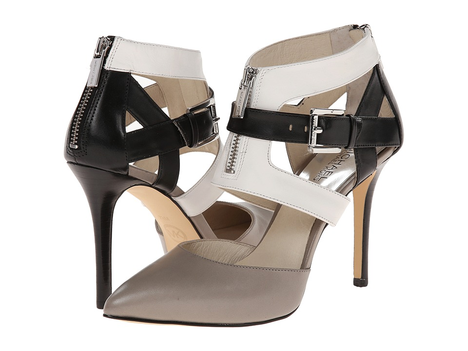 MICHAEL Michael Kors - Anya Back Zip (Pearl Grey/Optic/Black Vachetta) High Heels