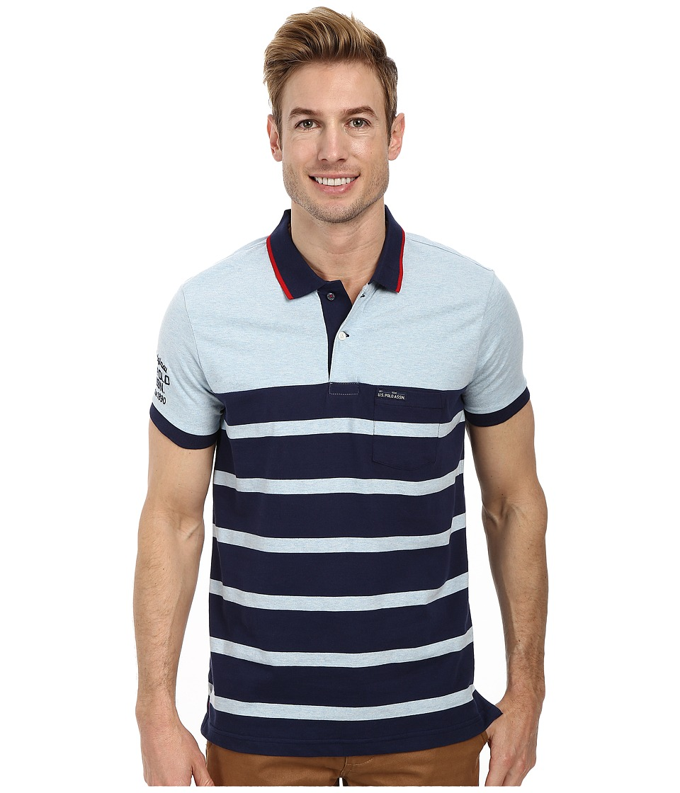 U.S. POLO ASSN. - Slim Fit Color Block Jersey Polo (Yale Blue Heather) Men's Short Sleeve Pullover