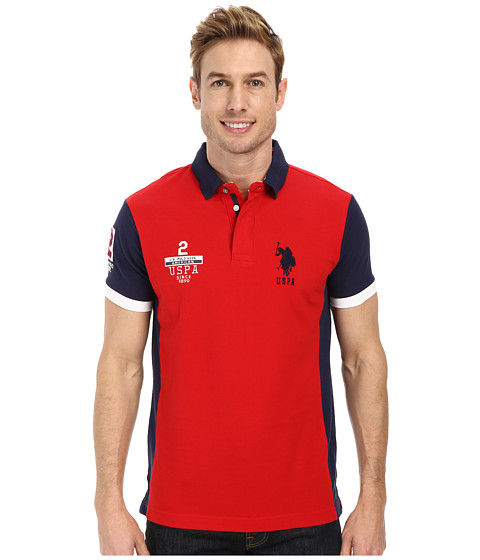 U.S. POLO ASSN. - Color Block Slim Fit Pique Polo (Engine Red) Men's Clothing