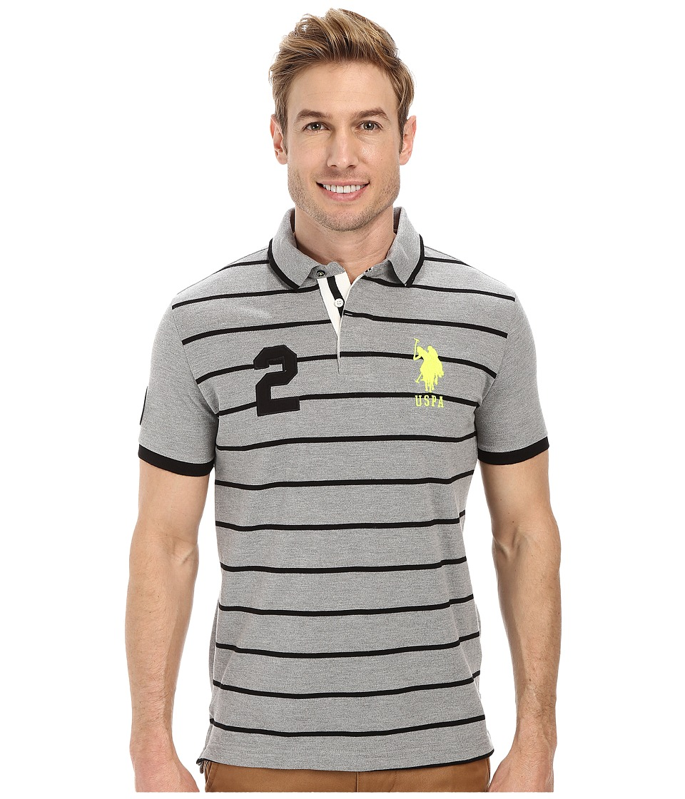U.S. POLO ASSN. - Slim Fit Stripe and Solid Pique Polo (Heather Gray) Men's Clothing