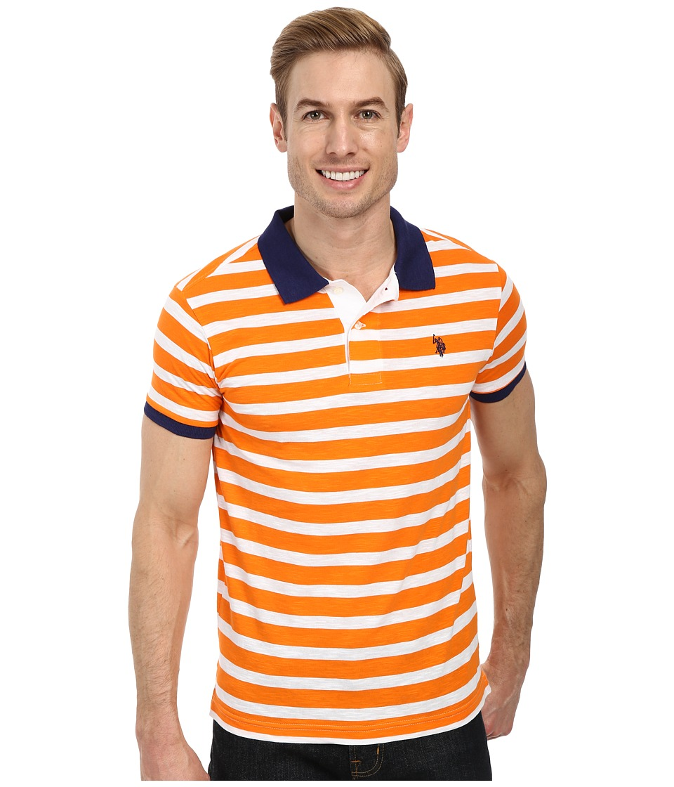 U.S. POLO ASSN. - Slim Fit Slub Polo (Orange Sunset) Men's Short Sleeve Pullover