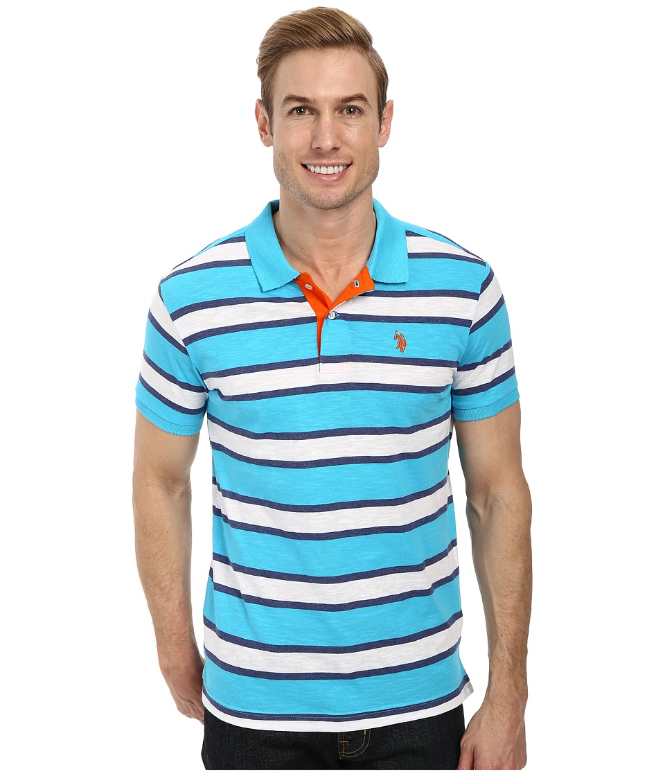U.S. POLO ASSN. - Slub Slim Fit Polo (Blue Sea) Men's Short Sleeve Pullover