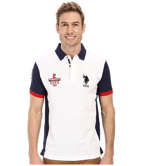 U.S. POLO ASSN. - Color Block Slim Fit Pique Polo (White) Men