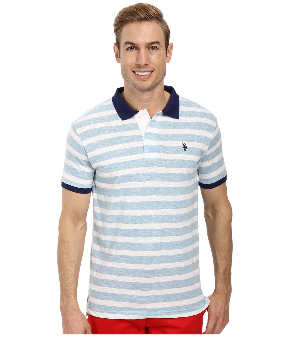 U.S. POLO ASSN. - Slim Fit Slub Polo (Yale Blue Heather) Men's Short Sleeve Pullover