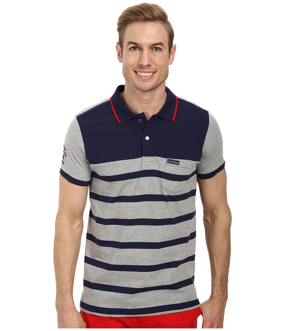 U.S. POLO ASSN. - Slim Fit Color Block Jersey Polo (Heather Gray) Men's Short Sleeve Pullover
