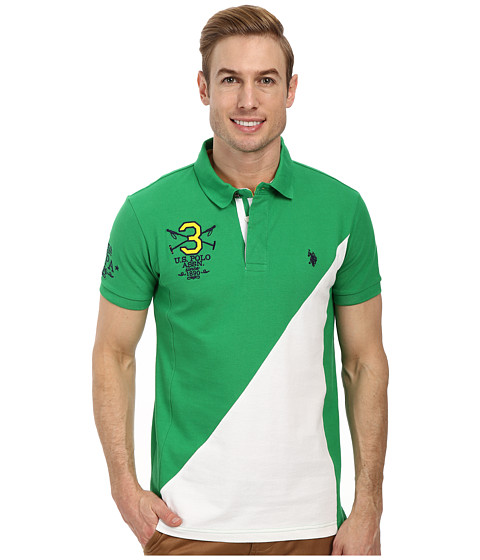 U.S. POLO ASSN. - 125th Anniversary Diagonal Blocked Polo (Court Green) Men's Short Sleeve Pullover