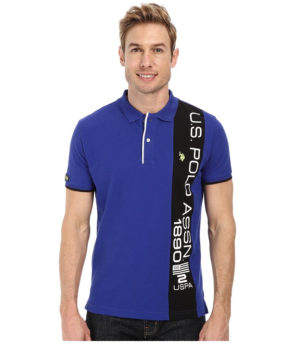 U.S. POLO ASSN. - Vertical Text Pique Polo (International Blue) Men's Short Sleeve Pullover