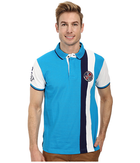 U.S. POLO ASSN. - Vertical Stripes Color Block Pique Polo (Teal Blue) Men's Short Sleeve Pullover