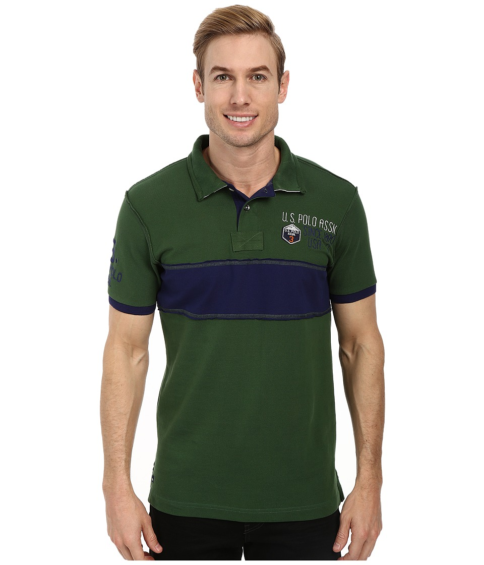 U.S. POLO ASSN. - Chest Stripe Slim Fit Polo (Cyber Green) Men's Short Sleeve Pullover
