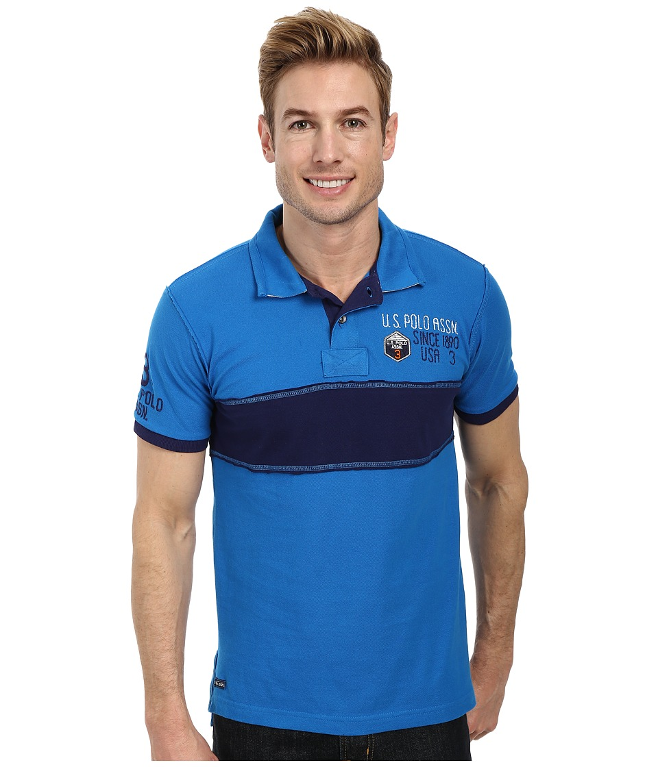 U.S. POLO ASSN. Chest Stripe Slim Fit Polo (Blue Tile) Men