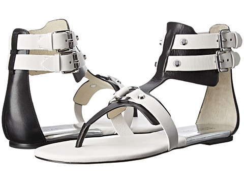 MICHAEL Michael Kors - Nadine Flat (Black/Optic White Vachetta) Women's Sandals