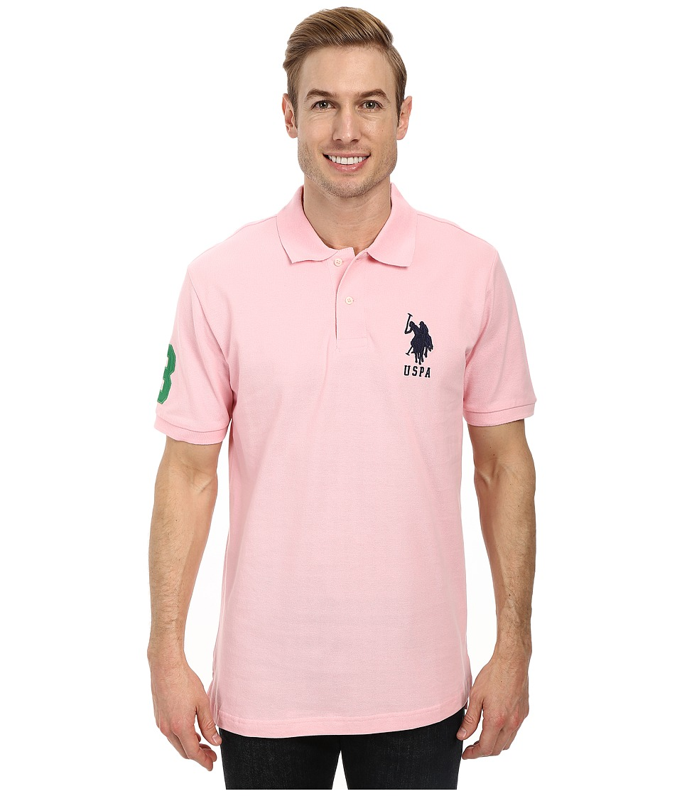 U.S. POLO ASSN. - Solid Pique Polo (Pink Rose/Classic Navy) Men's Short Sleeve Pullover