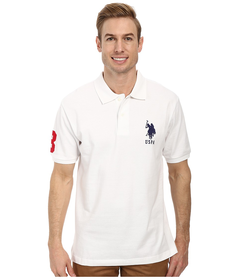 u s polo assn solid pique polo white mens short sleeve. Black Bedroom Furniture Sets. Home Design Ideas
