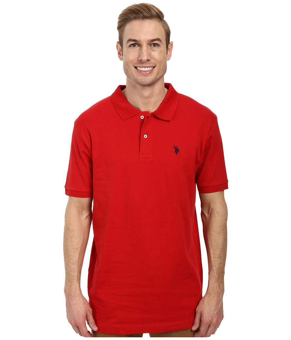 U.S. POLO ASSN. - Solid Interlock Polo (Engine Red) Men's Short Sleeve Knit