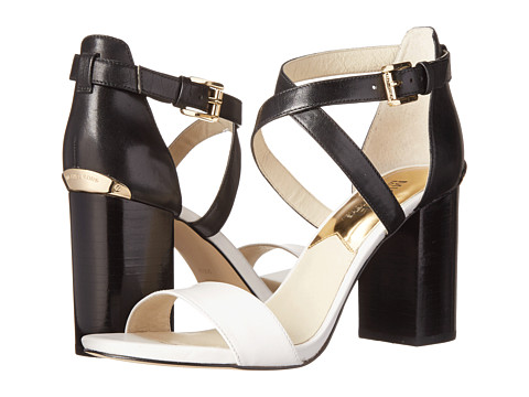 MICHAEL Michael Kors - Nadja Cross Strap (Optic White/Black Vachetta) High Heels