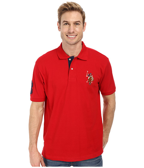 U.S. POLO ASSN. - Multicolor Double Rider Logo Solid Pique Polo (Engine Red) Men's Clothing