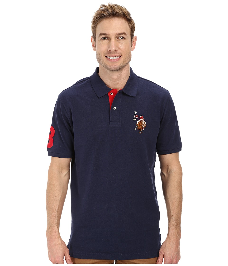 U.S. POLO ASSN. - Multicolor Double Rider Logo Solid Pique Polo (Classic Navy) Men's Clothing