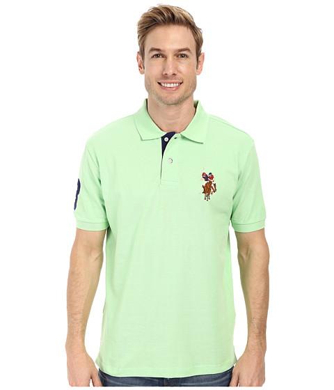 U.S. POLO ASSN. - Multicolor Double Rider Logo Solid Pique Polo (Summer Green) Men