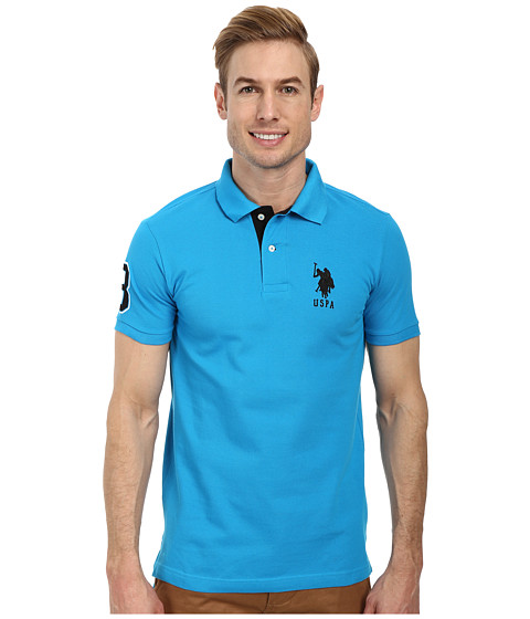 U.S. POLO ASSN. - Slim Fit Big Horse Polo w/ Stripe Collar (Teal Blue/Black) Men