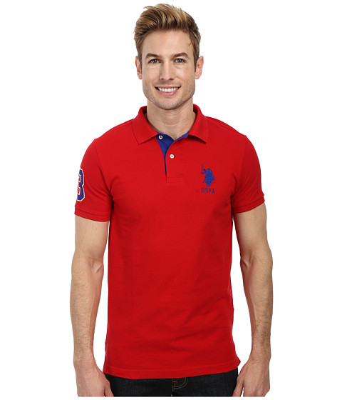 U.S. POLO ASSN. - Slim Fit Big Horse Polo w/ Stripe Collar (Engine Red/International Blue) Men's Short Sleeve Pullover