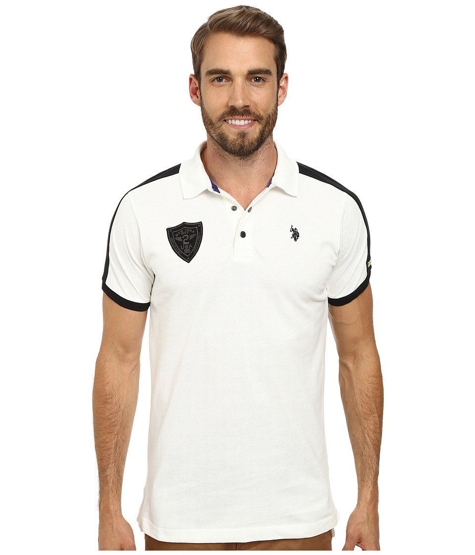 U.S. POLO ASSN. Slim Fit Shoulder Stripe Polo White Winter Mens Clothing