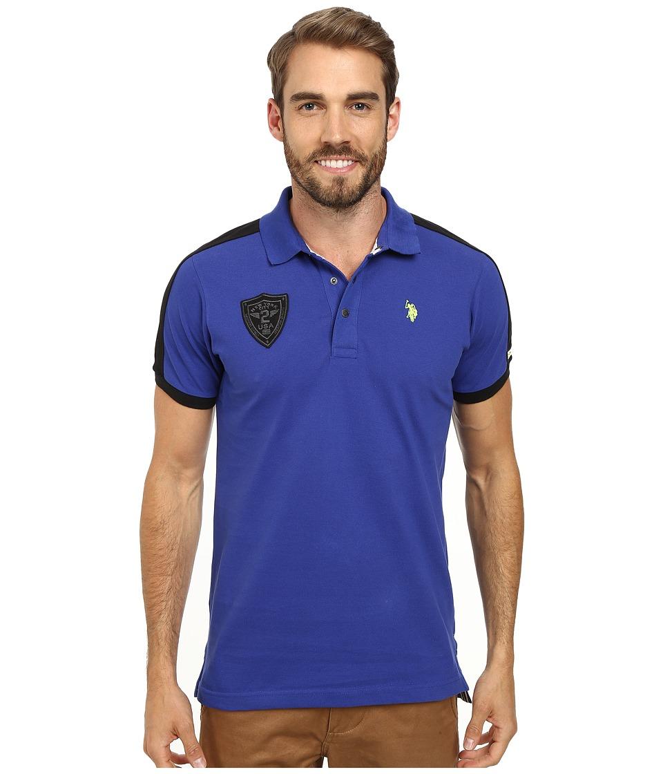 U.S. POLO ASSN. - Slim Fit Shoulder Stripe Polo (International Blue) Men's Clothing