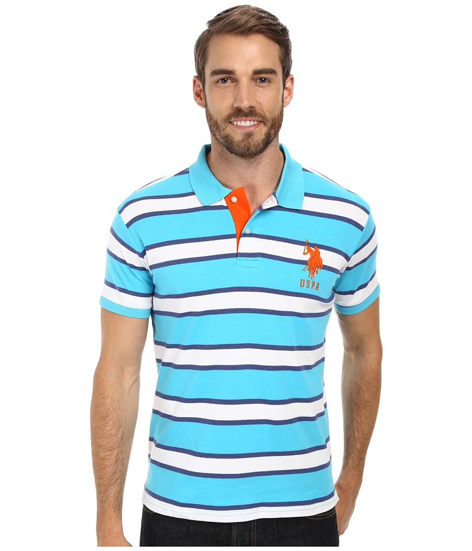 U.S. POLO ASSN. - Slim Fit Striped Interlock Polo (Blue Sea) Men's Short Sleeve Pullover