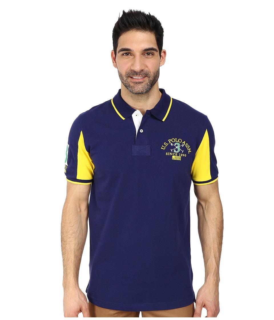 U.S. POLO ASSN. - Color Block Pique Polo (Dodger Blue) Men's Short Sleeve Knit