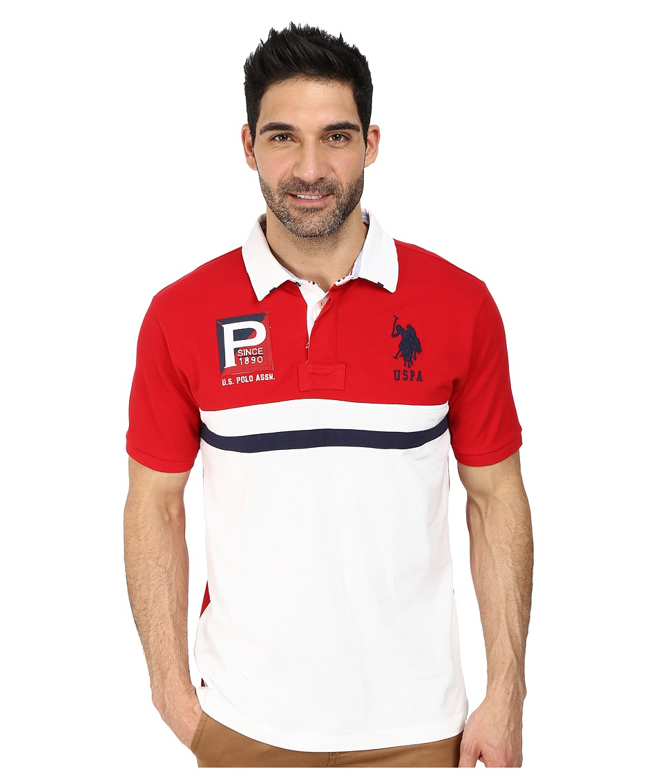 U.S. POLO ASSN. - Cotton Pique Color Block Polo (Engine Red) Men