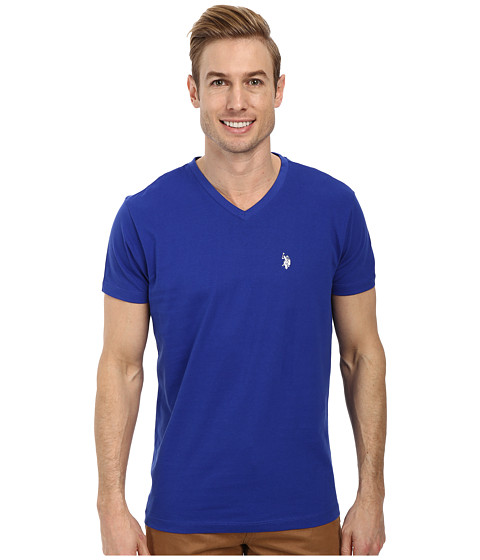 U.S. POLO ASSN. - V-Neck Short Sleeve T-Shirt (International Blue) Men's Short Sleeve Pullover
