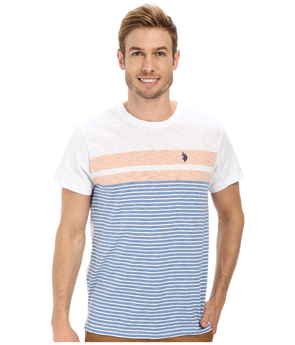 U.S. POLO ASSN. - Engineered Stripe Crew Neck T-Shirt (Ocean Spray) Men