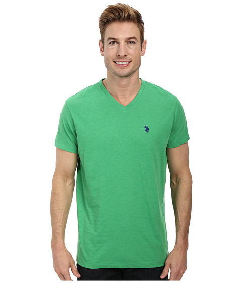 U.S. POLO ASSN. - V-Neck Short Sleeve T-Shirt (Grass Heather) Men's Short Sleeve Pullover