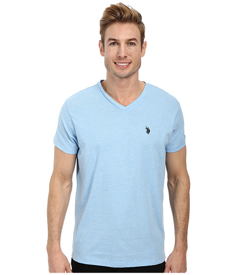 U.S. POLO ASSN. - V-Neck Short Sleeve T-Shirt (Yale Blue Heather) Men's Short Sleeve Pullover