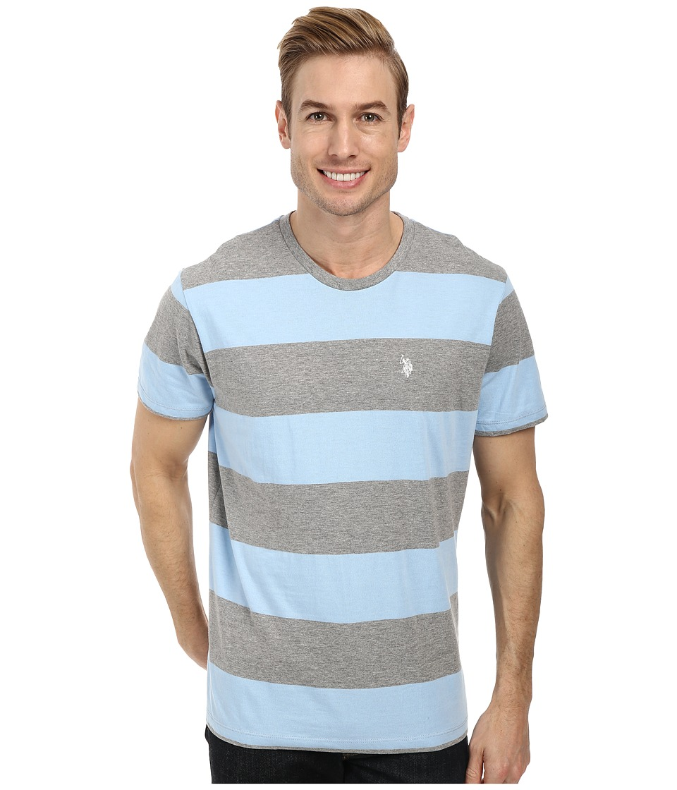 U.S. POLO ASSN. - Wide Stripe T-Shirt (Heather Gray) Men's Short Sleeve Pullover