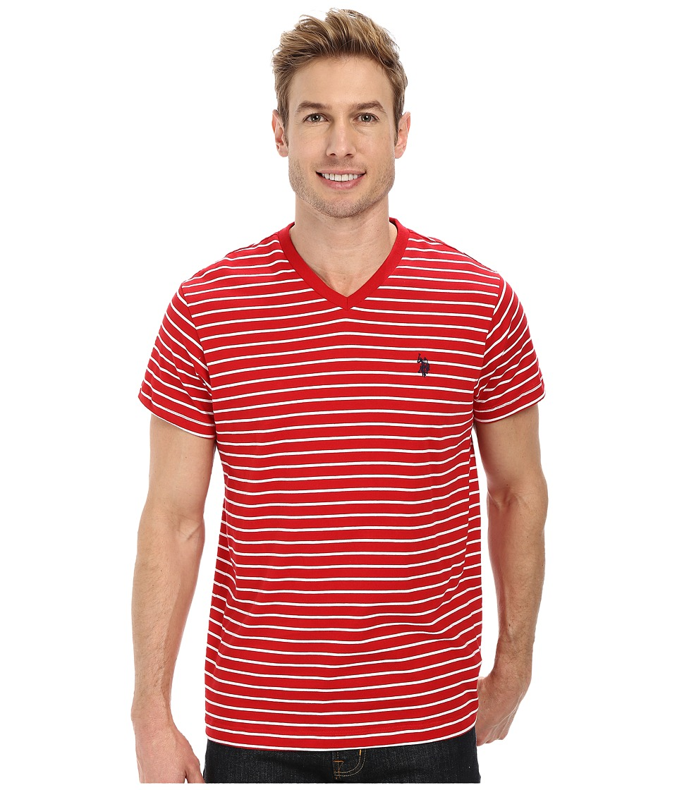 U.S. POLO ASSN. - Thin Stripe V-Neck T-Shirt (Engine Red) Men's T Shirt