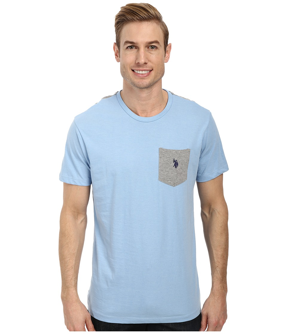 U.S. POLO ASSN. - Crew Neck Color Block Pocket T-Shirt (Yale Blue Heather) Men's Short Sleeve Pullover