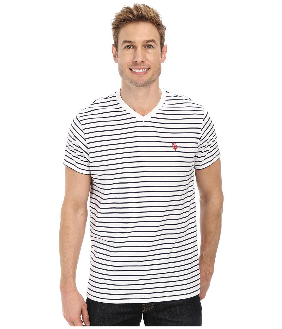 U.S. POLO ASSN. - Thin Stripe V-Neck T-Shirt (White) Men's T Shirt