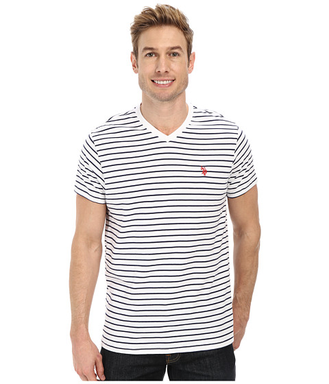 U.S. POLO ASSN. - Thin Stripe V-Neck T-Shirt (White) Men's T Shirt