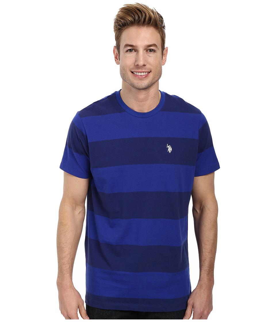 U.S. POLO ASSN. - Wide Stripe T-Shirt (Dodger Blue) Men's Short Sleeve Pullover