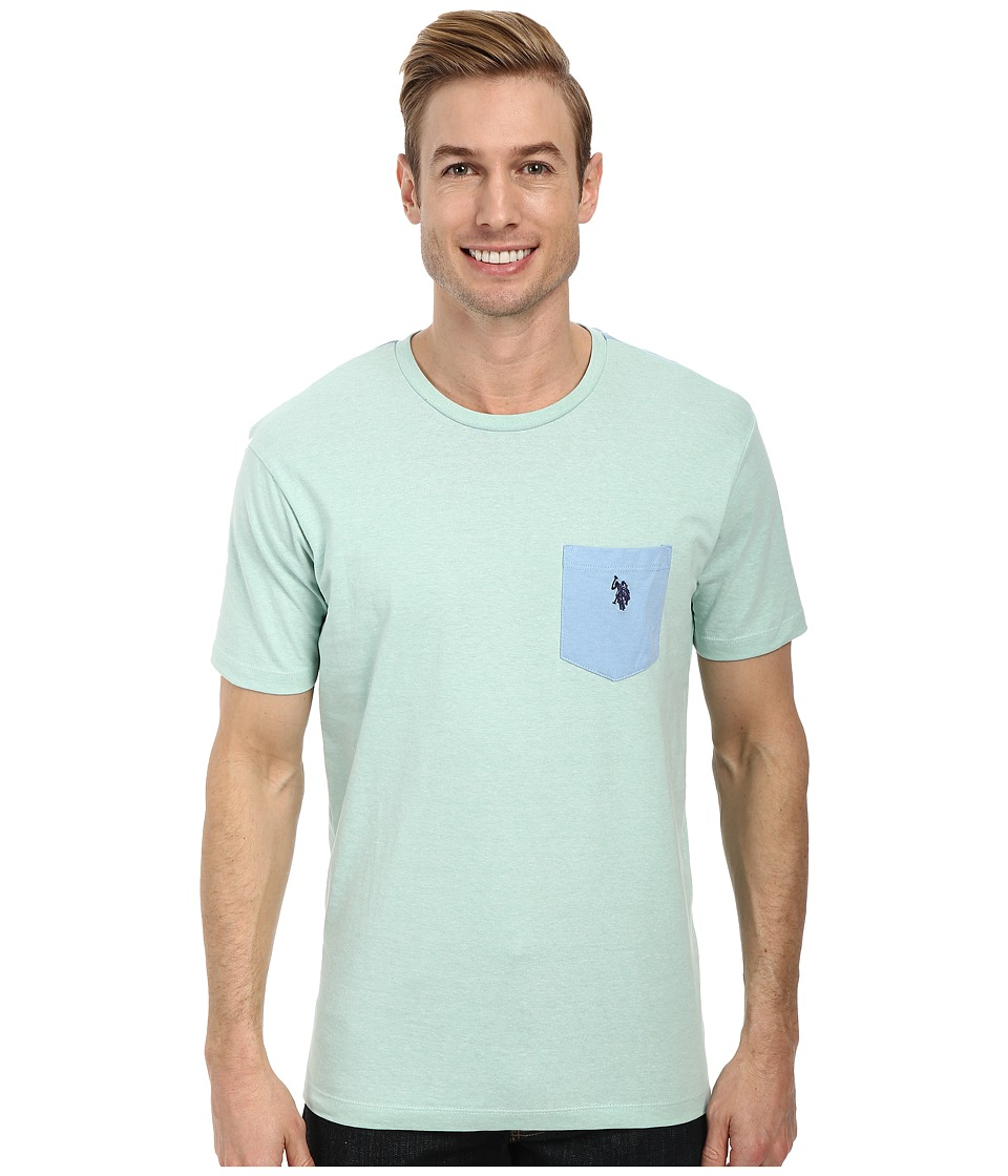 U.S. POLO ASSN. - Crew Neck Color Block Pocket T-Shirt (Mint Heather) Men's Short Sleeve Pullover