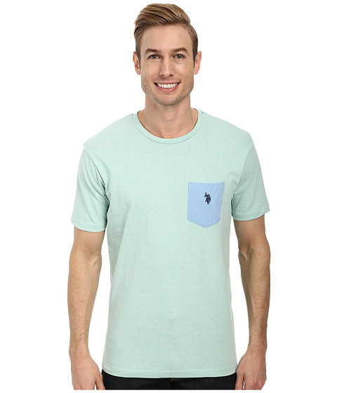 U.S. POLO ASSN. - Crew Neck Color Block Pocket T-Shirt (Mint Heather) Men