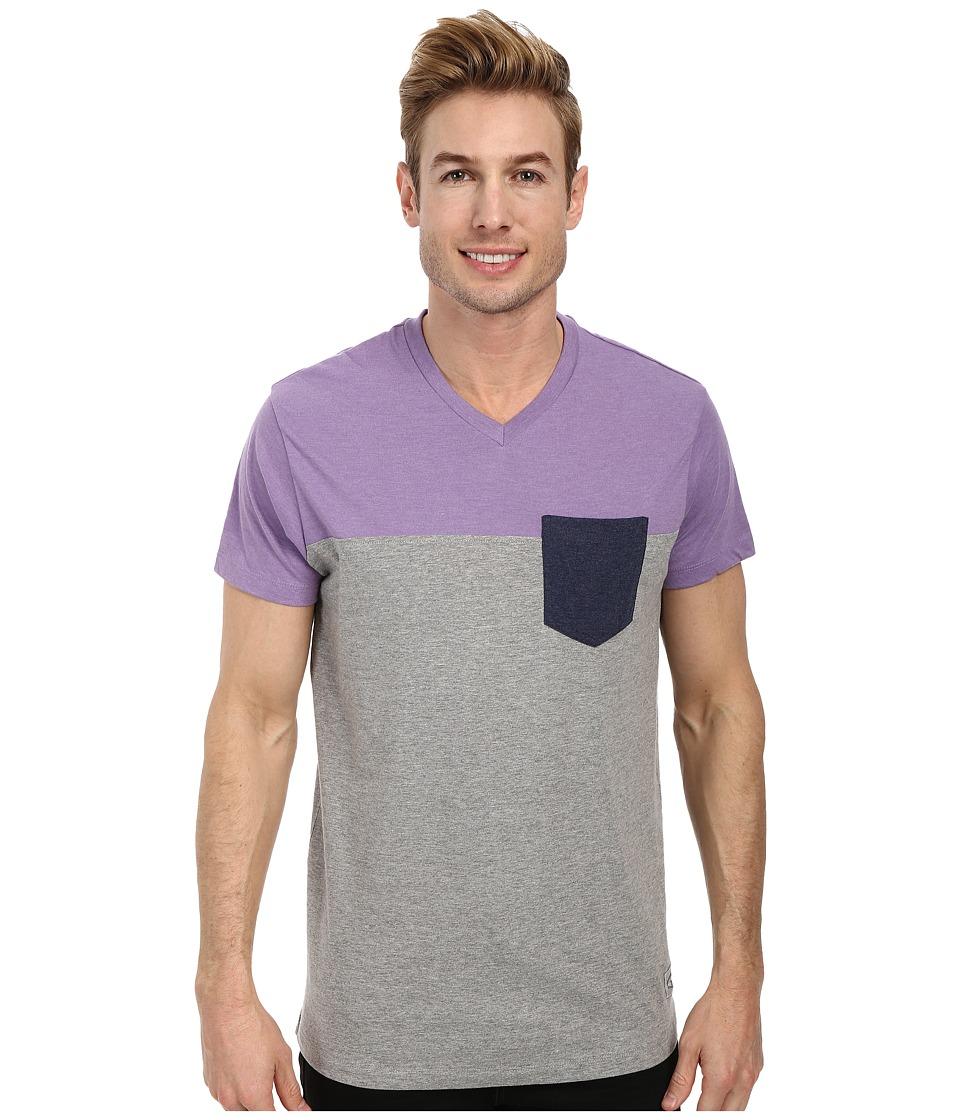 U.S. POLO ASSN. - Three Color Blocked V-Neck T-Shirt (Tie Purple Heather) Men's Short Sleeve Pullover