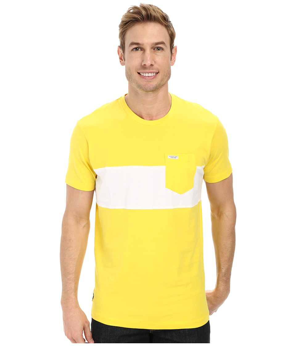 U.S. POLO ASSN. - Wide Chest Stripe Pocket Crew Neck T-Shirt (Sailing Yellow) Men's Short Sleeve Pullover