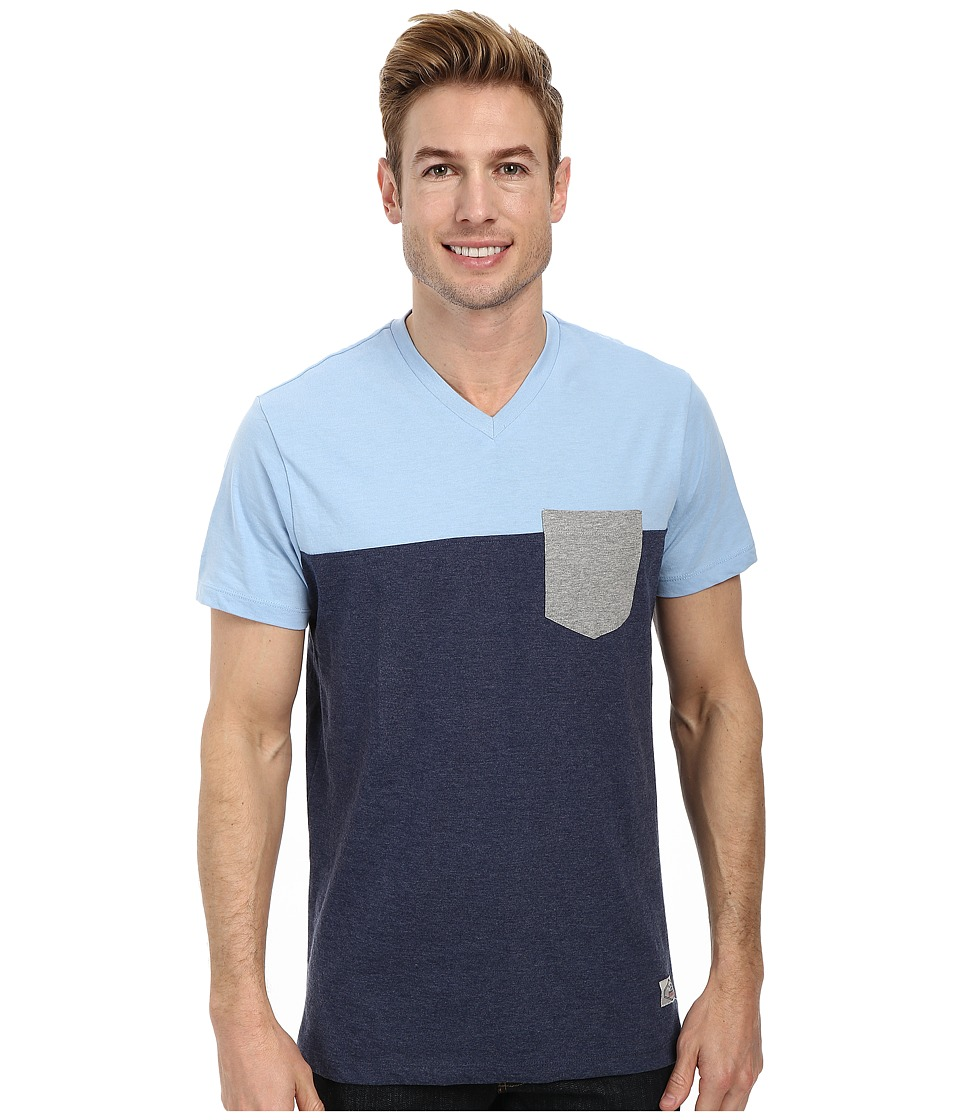 U.S. POLO ASSN. - Three Color Blocked V-Neck T-Shirt (Yale Blue Heather) Men's Short Sleeve Pullover