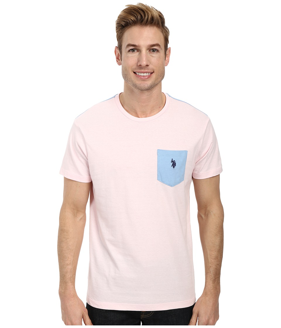 U.S. POLO ASSN. - Crew Neck Color Block Pocket T-Shirt (Pink Champagne Heather) Men's Short Sleeve Pullover