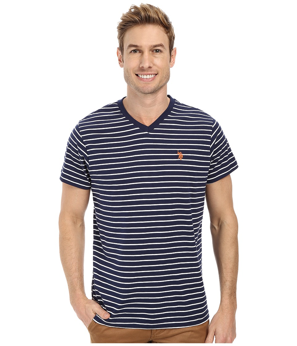 U.S. POLO ASSN. - Thin Stripe V-Neck T-Shirt (Classic Navy) Men's T Shirt