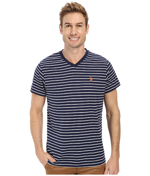 U.S. POLO ASSN. - Thin Stripe V-Neck T-Shirt (Classic Navy) Men