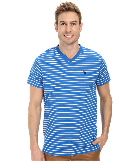 U.S. POLO ASSN. - Thin Stripe V-Neck T-Shirt (Blue Tile) Men
