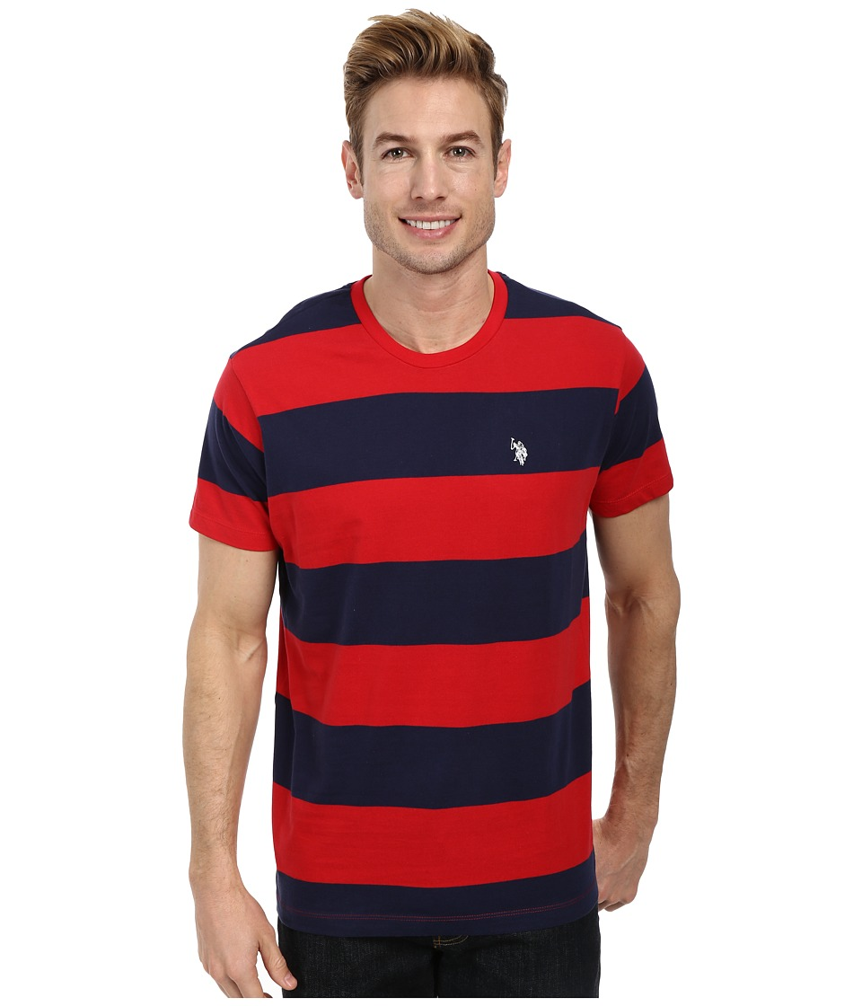 U.S. POLO ASSN. - Wide Stripe T-Shirt (Engine Red) Men's Short Sleeve Pullover