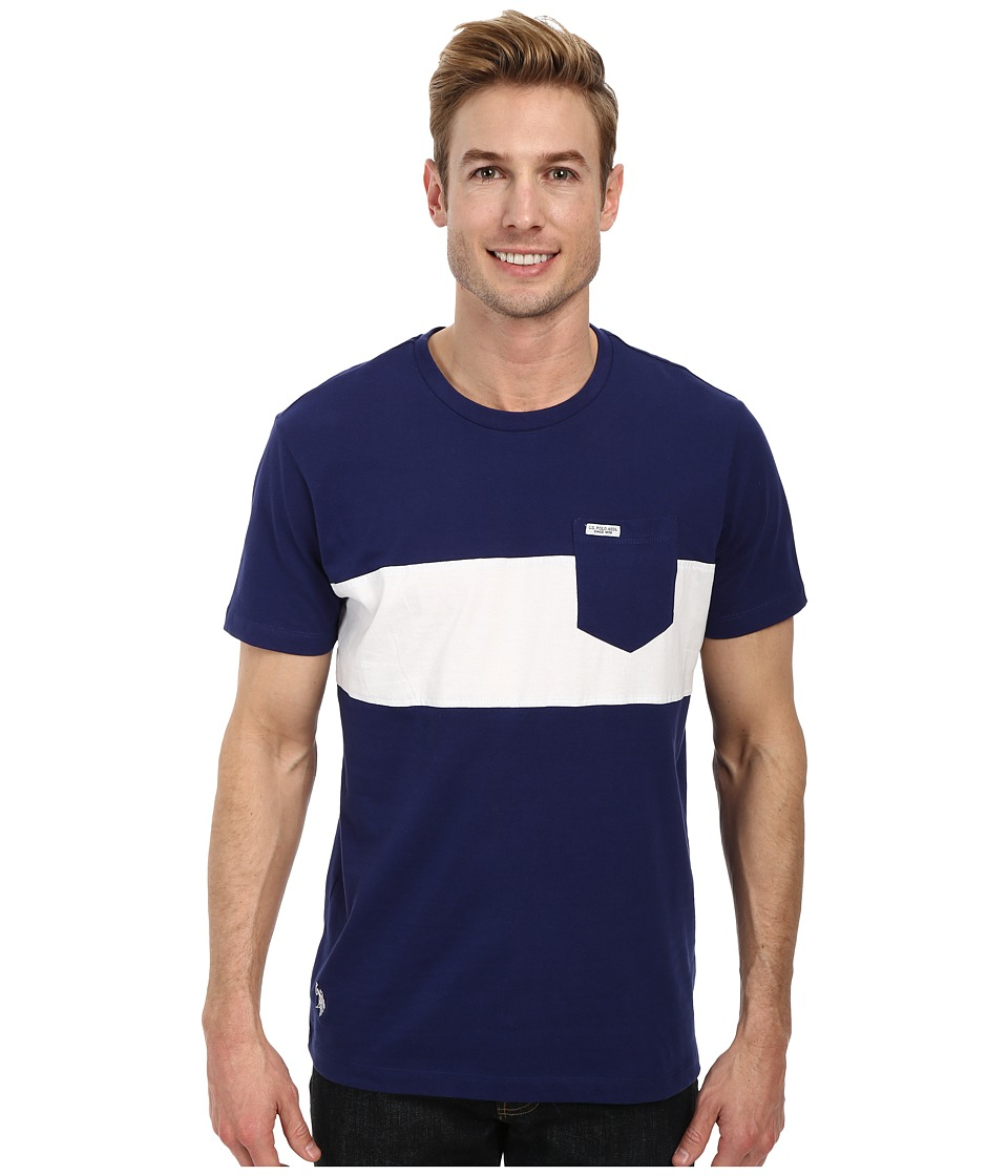 U.S. POLO ASSN. - Wide Chest Stripe Pocket Crew Neck T-Shirt (Dodger Blue) Men's Short Sleeve Pullover